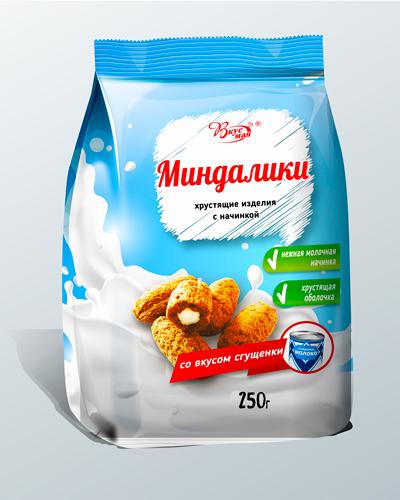Изделия фигурные с начинкой со вкусом сгущ молока «МИНДАЛИКИ»
