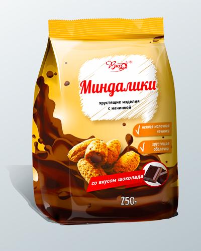 Изделия фигурные с начинкой со вкусом шоколада «МИНДАЛИКИ»